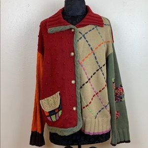 Susan Bristol V neck sweater multi color size XL